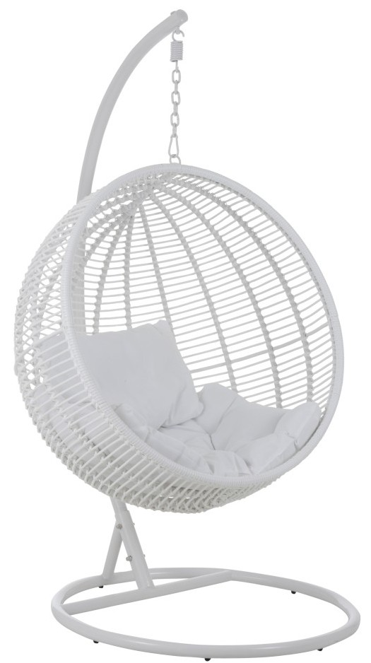 Hangstoel Rotan Wit.Hangstoel Rond Staal Wit Rotan Van J Line Zwartwitshop