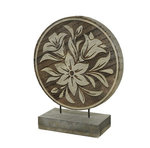 Ornament Flower Hout | Paneel rond