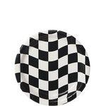 Bordjes van karton Grand Prix zwart wit 8 stuks  Afmeting: 18 cm.