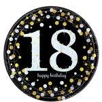 Bordjes 18 jaar Happy Birthday8 stuks 23 cm.