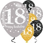 Ballonnen 18 jaar Happy Birthday wit (6 stuks) Latex
