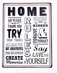 Tekstbord Home Rules Zwart Wit