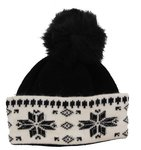Beanie with Crystals and Fur Pompon Black
