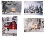 Canvas LED winter staand 20x15cm met timer 2xAA