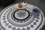 Vloerkleed | Zwart-Wit  grafisch rond katoen 180 cm