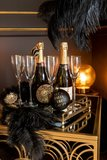 6 Kerstballen Handtas Glas Goud/Zwart J-Line