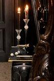"""Kerstballen Fluweel Ster Glas Zwart/Goud """"Twenties"""" J-Line"""