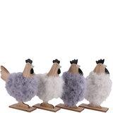 Kippen van hout en met wol, voor decoratie 23x 20x 5 cm