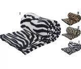 zwart wit Fleece deken dieren print 150 x 120 cmPlaid   3 verschillende prints