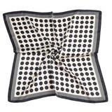 Sjaal wit grote stippen/streepje zwart