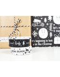 Masking tape wit met zwarte kerstauto
