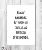 """Kaart """"You can't buy happiness""""_"""