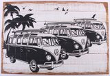 Wandbord | vakantie VW Bus Zwart/Wit_