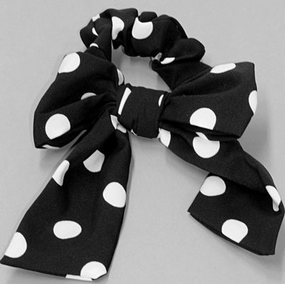 Scrunchie Bow Dots/ Stippen in zwart wit