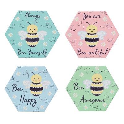 Onderzetters BEE HAPPY set 4