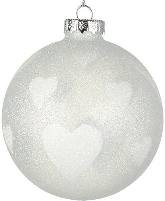 Kerstbal met hartjes | 8 cm.