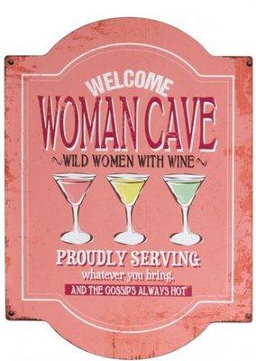 Tekstbord Women Cave Metaal Roze 55 cm / J Line