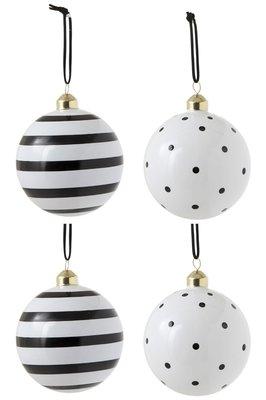 Kerstballen Strepen stippen 10 cm. zwart wit