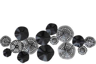 Wanddecoratie metaal Cirkels zwart
