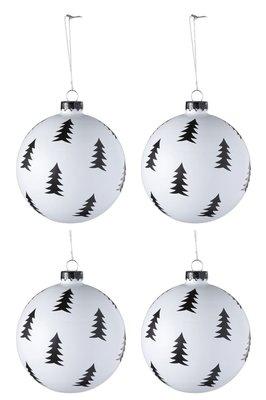 Kerstballen Kerstboompjes 10 cm. zwart wit