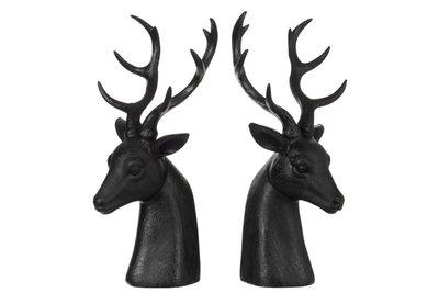 Rendieren 2 Zwarte boekensteunen of decoratie J-LINE