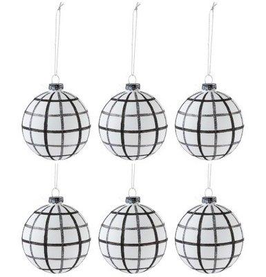Kerstballen ruiten 8 cm. zwart wit