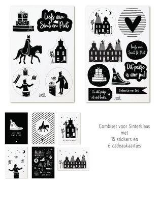 Sinterklaas stickers & cadeaukaartjes zwart wit Zoedt