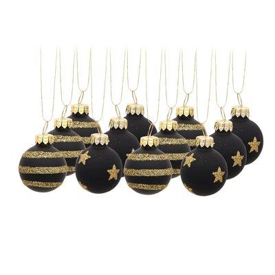 Kerstballen 3,5 cm. Zwart Goud set 12 stuks