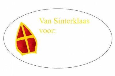 Cadeausticker Mijter | 10x | Van Sinterklaas voor..