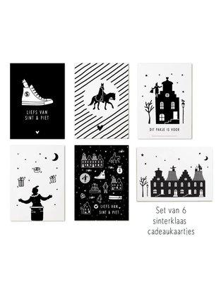 Sinterklaas cadeaukaartjes zwart wit set 6