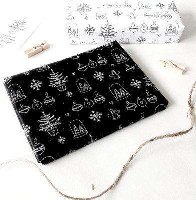 Kerst inpakpapier 3 vellen Zwart