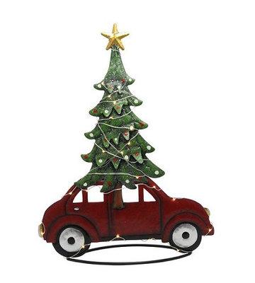 Auto met kerstboom staand 18-led metaal