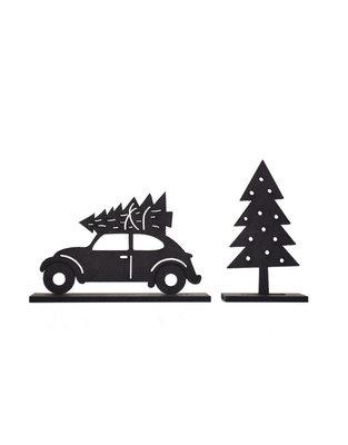 Houten kerst set met auto en Kerstboom