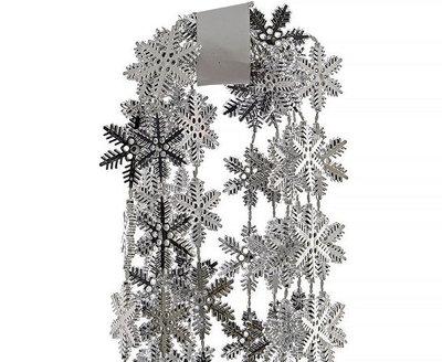 Slinger Kerstboom sneeuwvlok kunststof 270 cm Zilver