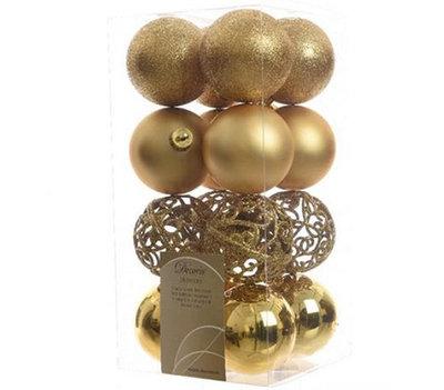 Kerstbal kunststof mix open dia 6cm - doos 16 stuks - Goud