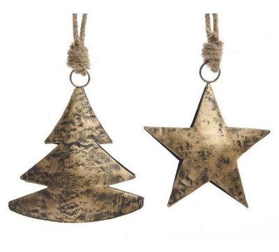 Kerst ornament ijzer 25x25cm kerstboom of ster