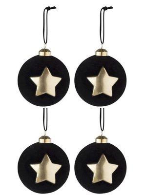 """4 Kerstballen Fluweel Ster Glas Zwart/Goud """"Twenties"""" J-Line"""