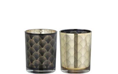 Theelichthouder Gatsby Glas Zwart/Goud set 2 stuks J-Line