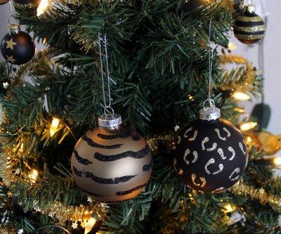 Kerstballen Tijgerprint/Luipaard 4 stuks | 7 cm.