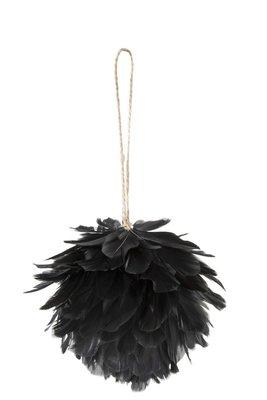 Bal van veren zwart 10 cm