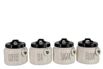 Voorraadpot Flour/Sugar/Coffee/Tea  set 4 J-Line