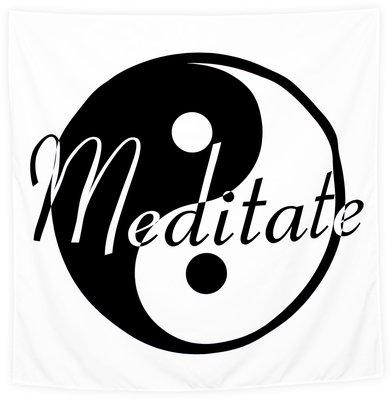 Wandkleed Meditate Zwart wit