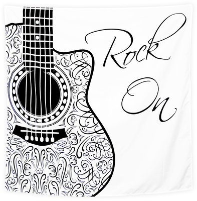 Wandkleed Rock On Zwart wit