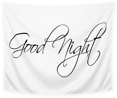 Wandkleed Good Night Zwart wit