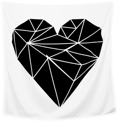 Wandkleed Hart Zwart in Zwart wit