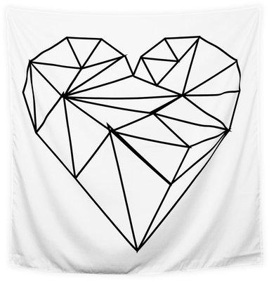 Wandkleed Hart Wit in Zwart wit