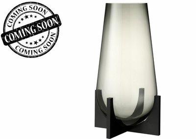 Vaas Conisch Op Voet Glas/Metaal Grijs/Zwart L / J LINE