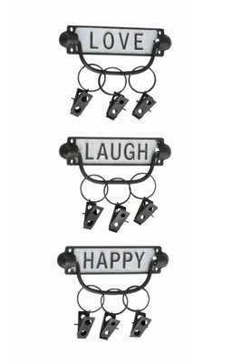3 x Handdoek haakjes, clips, Kapstok Love/Laugh/Happy+Clip