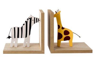 Boekensteunen set 2 Giraffe Zebra