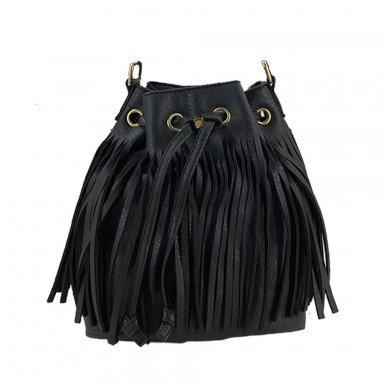 Handtas met franje Zwart